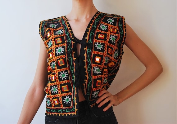 Vintage Mirror Fabric Cotton Top Embroidered Open