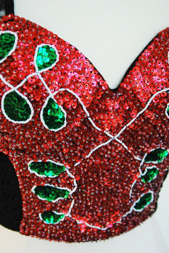 1980s Sequin Bustier with Lace Sleeves Corset Top… - image 8
