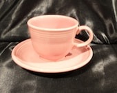 Vtg Fiesta Rose Pink Tea Cup and Saucer Set, Various Date Codes from 2000 and 2001, Excellent Condition
