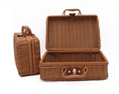 Vintage Suitcase Woven Storage Basket Rattan Storage Case Woven Wicker Rattan Picnic Laundry Baskets Home Storage