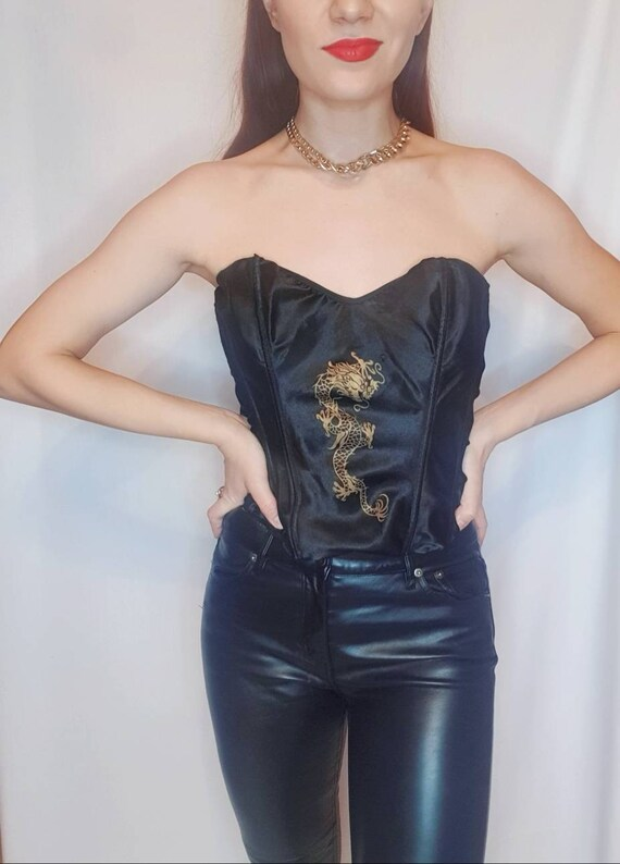 Vintage satin lace up corset top