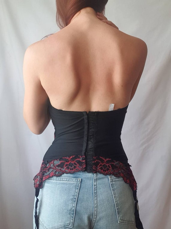 Vintage lace bustier top 80s corset top Red and b… - image 5