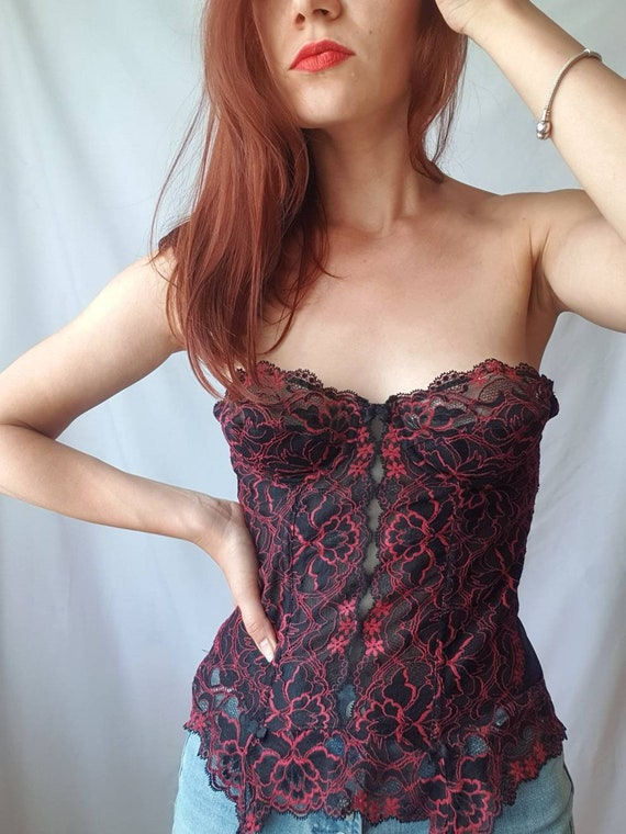 Vintage lace bustier top 80s corset top Red and b… - image 4