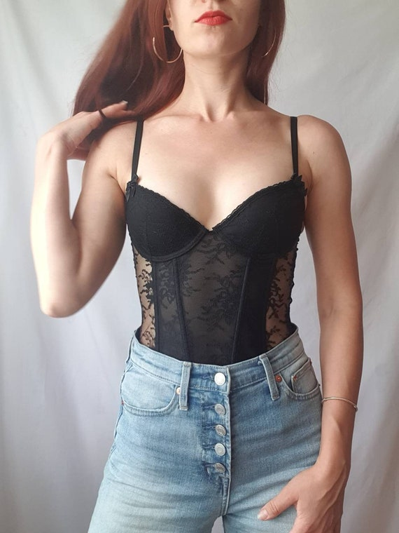 Black lace bustier top Fitted corset top Size 32 A - image 1