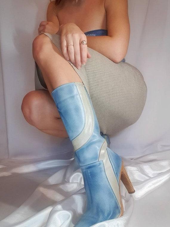 Vintage blue square toe boots