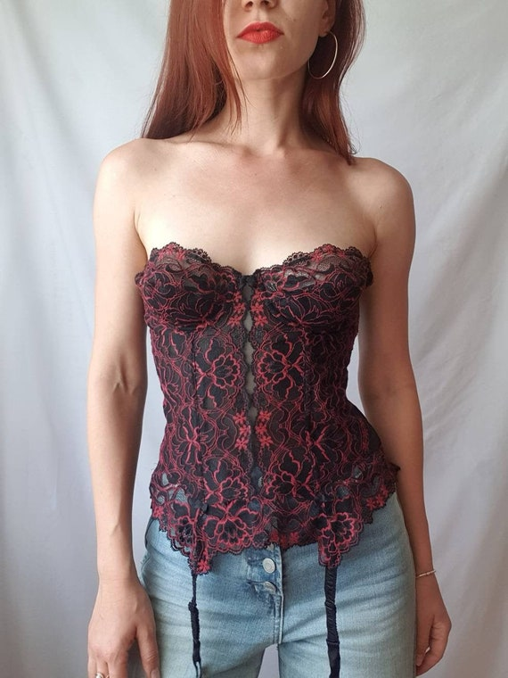 Vintage lace bustier top 80s corset top Red and b… - image 1
