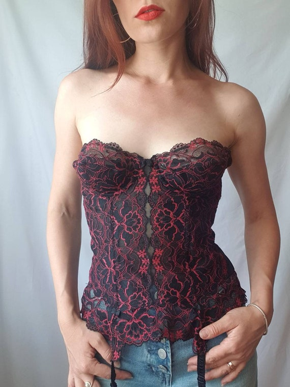 Vintage lace bustier top 80s corset top Red and b… - image 7