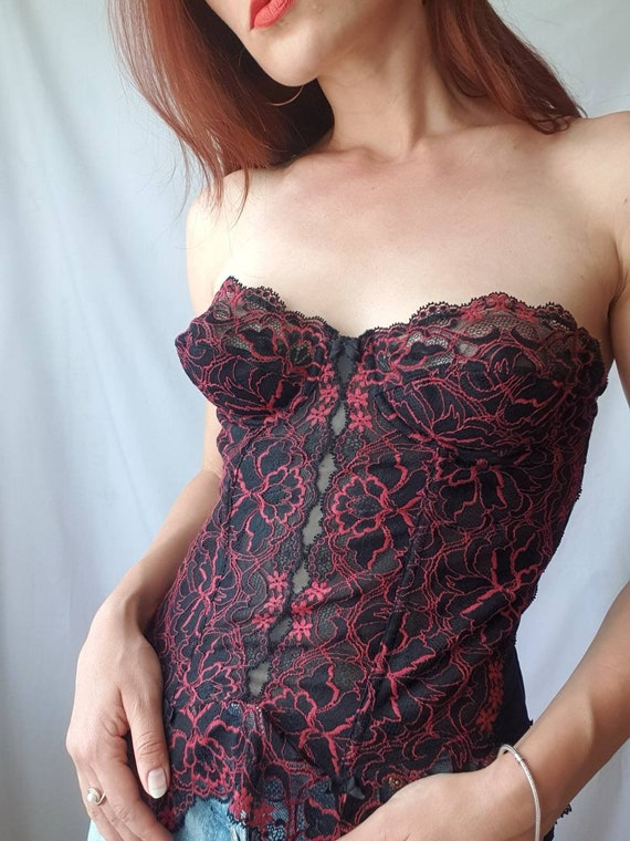 Vintage lace bustier top 80s corset top Red and b… - image 2