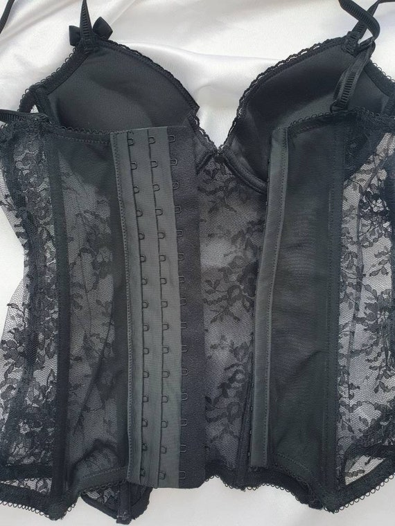 Black lace bustier top Fitted corset top Size 32 A - image 10