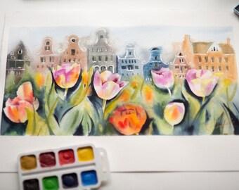 Original Watercolor Holland Tulips Flowers  Aesthetic Room Decor landscape