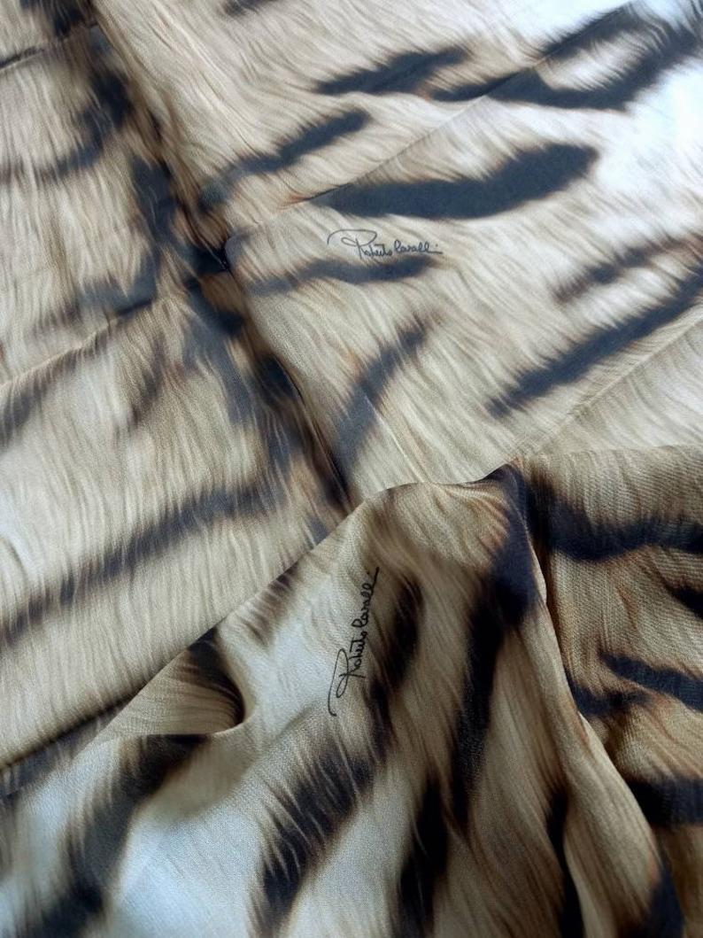 Authentic Roberto cavalli designer made in italy pure silk chiffon fabric cm 300x150