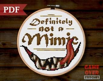 "Pattern - ""Definitely Not a Mimic"" - Cross Stitch for 8-Inch Hoop"