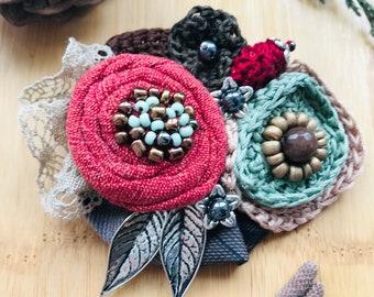 Handmade flower wool brooch acessory boho style brooch pin vintage brooch hand knitted flower wool brooch crochet flower brooch