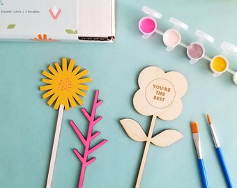 Flower paint kit, Organic Blooms, DIY, kid craft, Mother's Day gift, bridal party, baby shower, gift for her, Spring art, lasercut wood