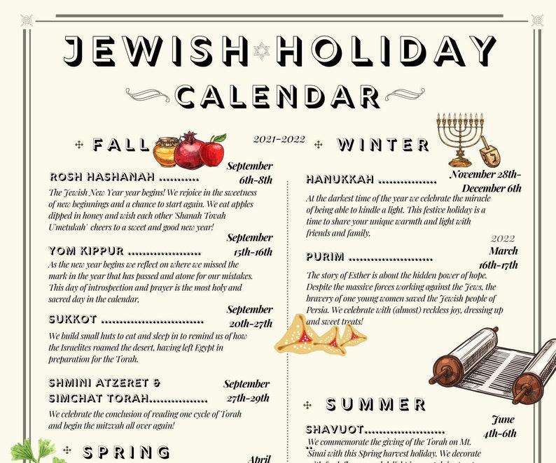 Jewish Holiday Calendar 2021  2022 Hebrew Year 5782 image 0
