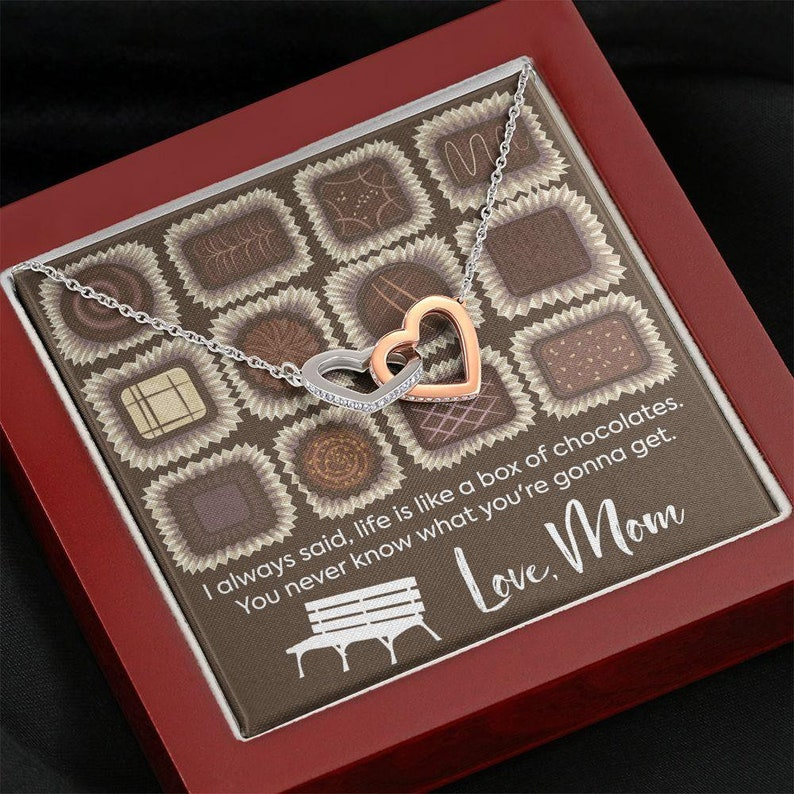 Gift Necklace with Message Card Chocolates Gift to Daughter Daughter Necklace Polished Heart Necklace To Daughter from Mom