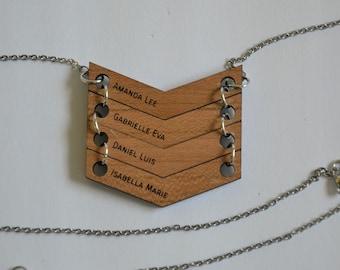 Wood Necklace, Custom Chevron Necklace, Statement necklace, Necklace, Personalized Chevron Necklace, V Necklace, Wood Necklace