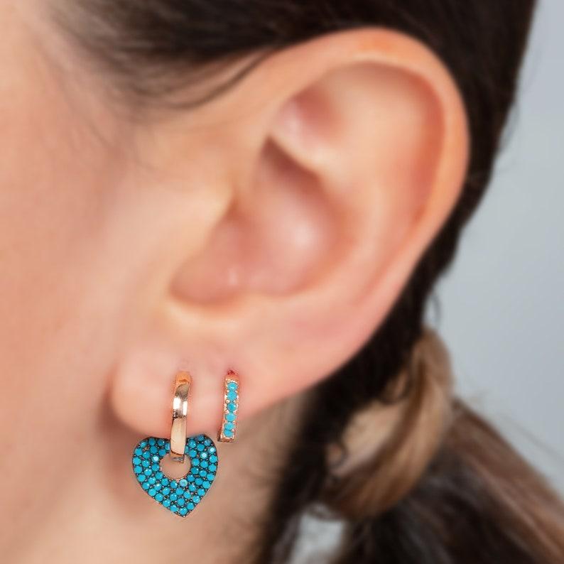 Gift for Her Turquoise Dangle Earrings Mom Earrings Silver Heart Huggie Hoop Earrings Christmas Gift Mothers Day Gift