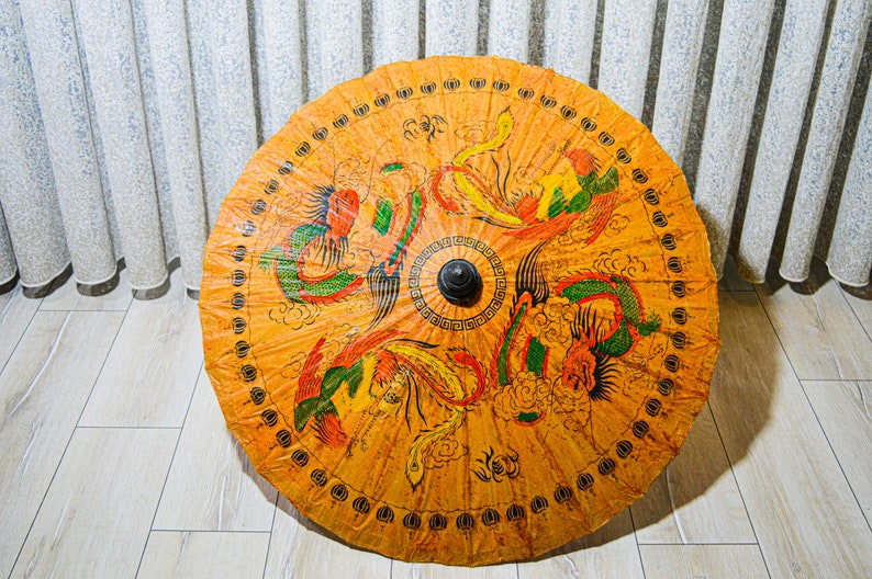 Japanese Umbrella Vintage Japanese Bamboo Parasol Hand Painted Hand-painted Parasol bamboo umbrella 1960s