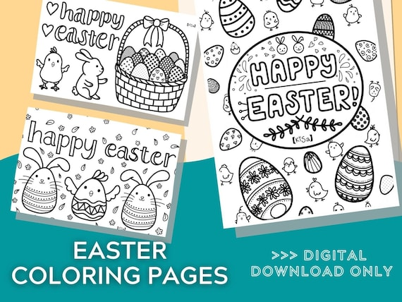EASTER Coloring Pages 3 pages Printable Coloring Page
