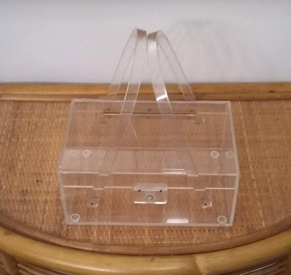 Mid Century Clear Lucite Handbag Footed Picnic Bas