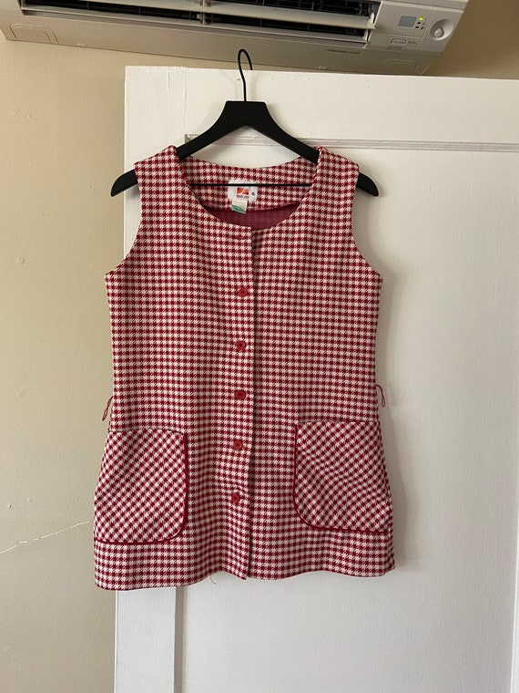 Gingham 1960s mod mini dress