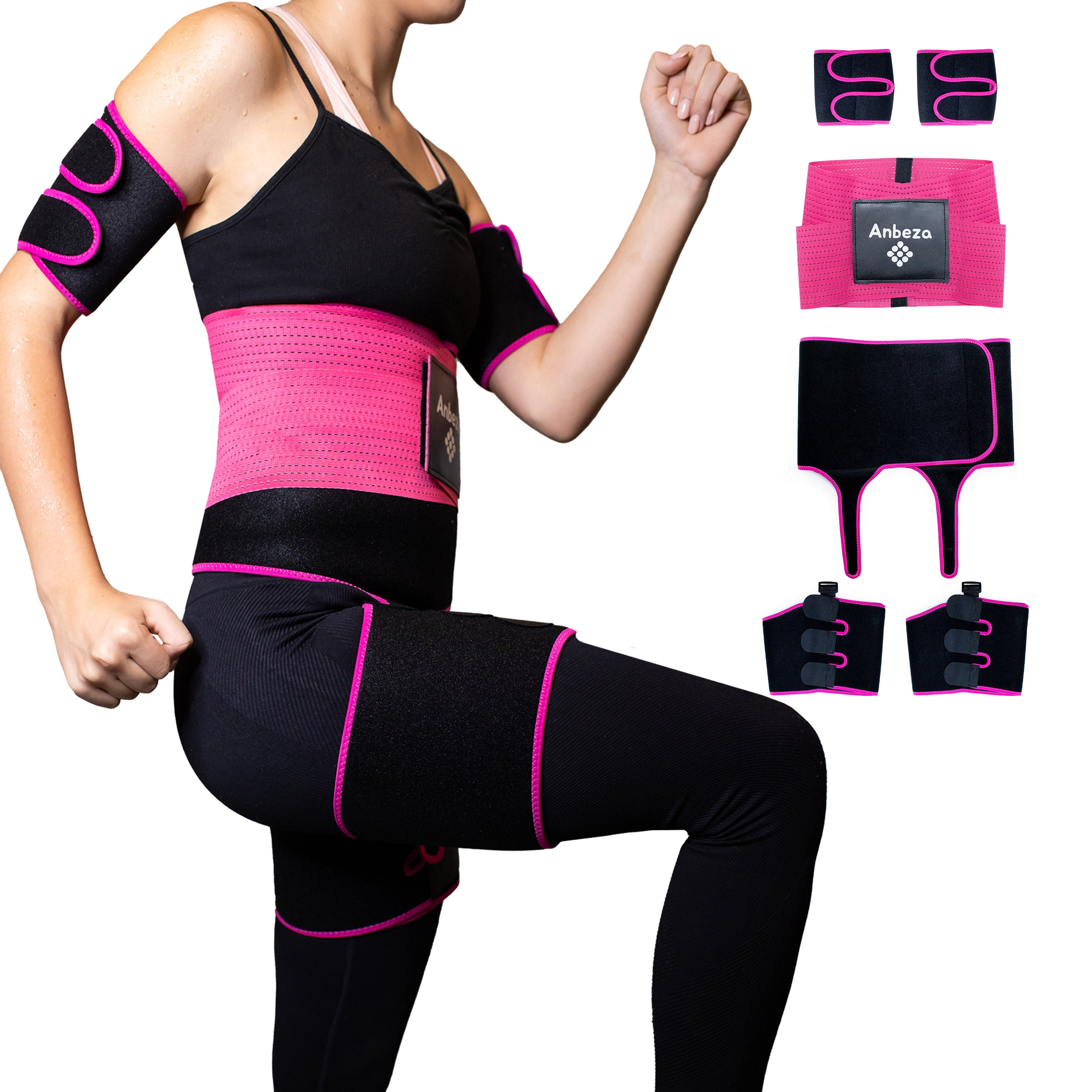 Anbeza 3-in-1 Waist and Thigh Trainer with Butt Lifter and Arm Trimmers for Weight Loss. Thigh Slimmer and Arm Slimmer for Arm Fat