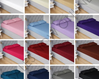 COLOR STONE BLUE 180TC Easy Care Fitted Sheet ALL SIZES Depth: 25 CM