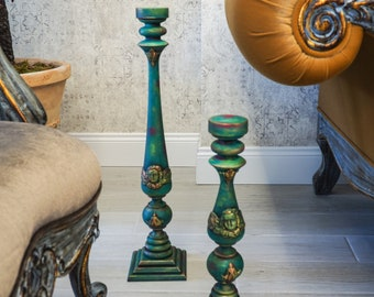 Set of 3 Natural Wood Tall Decorative Green  Candle Holders-Livingroom decor- Vintage Style-Wedding Decor-Mother s day gift