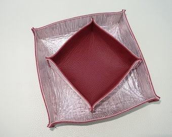 Leather bowl duo bordeaux rosemetallic