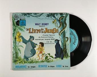 """Vintage LP for Kids 7"""" Livre de la Jungle Disney Jungle Book"""