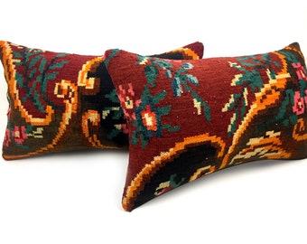 12x20 Inch Moldov Kilim Pillow Cover Handmade Green Vintage Ethnic Boho Wool Cushion Throw Rug Case Yellow 30x50cm Handwoven Flower Pastel