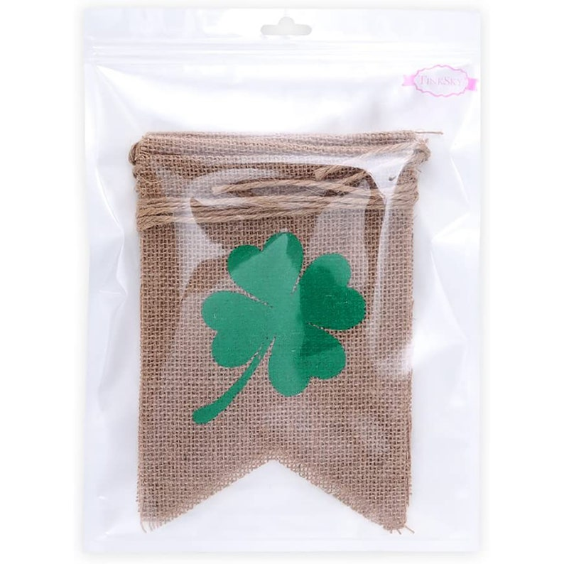 St Pattys Day Rustic Burlap Garland LUCKY Four Leaf Clover Banner St Patrick Day Irish Home Decor