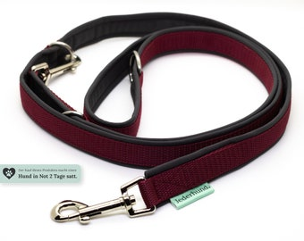 Dog leash, 2 to 3 times adjustable, undercushioned with softshell