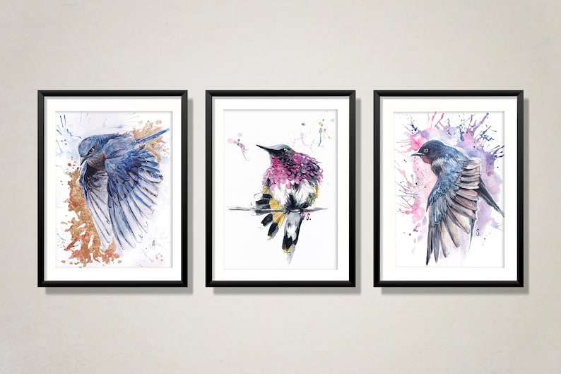 Painting Gift Abstract Wall  Decor Swallow Bird Watercolor Print from Original Painting Handmade