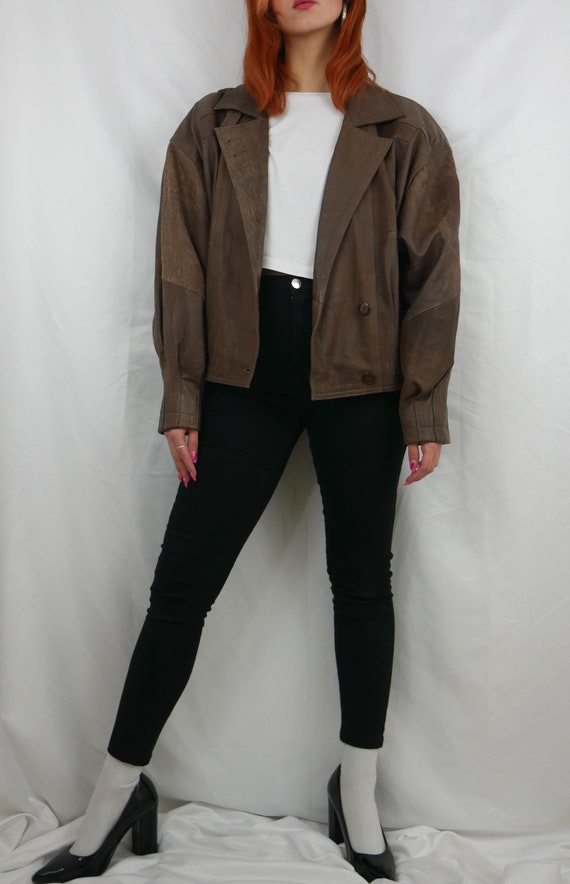 Vintage 80s brown bomber leather jacket