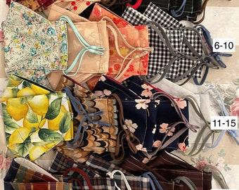 Handmade Vintage Fabric Masks Adjustable Elastics Mask Cover Filter Pocket Nose Wire No Fog