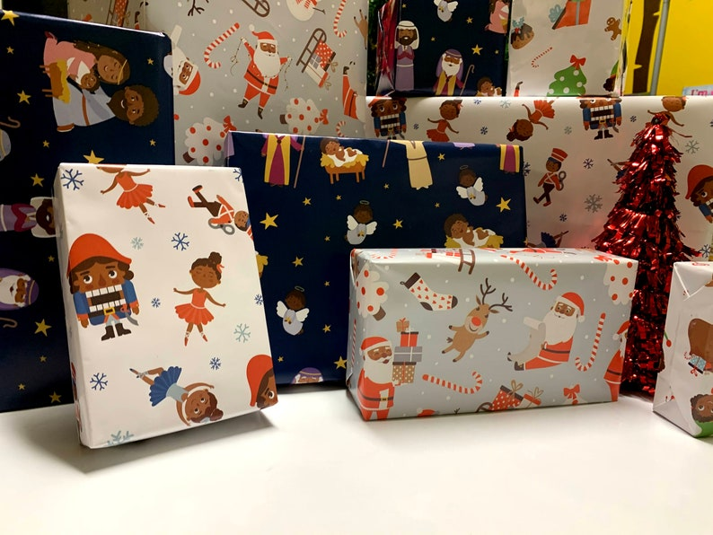 Black Christmas Wrapping Paper