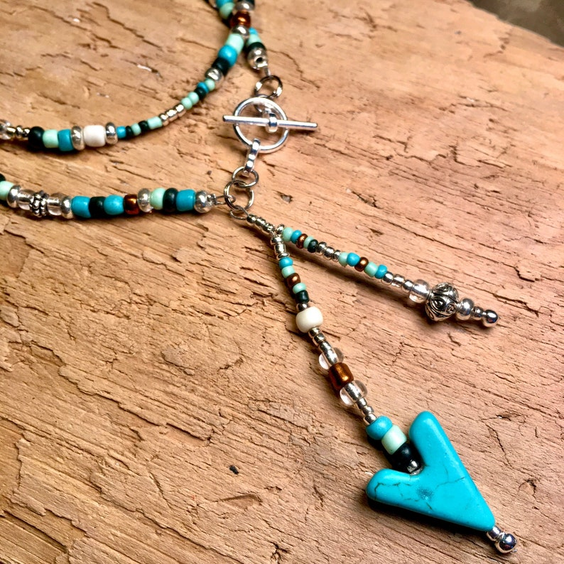Lariat Necklace Turquoise with Silver or Cooper Beads Boho Chic Hippie Southwestern