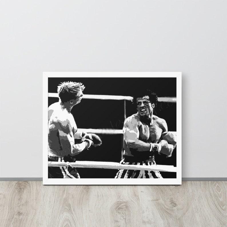 Rocky Balboa Framed Poster Rocky vs Ivan Drago Black /& White Rocky Poster Rocky IV Movie Poster Knockout Punch