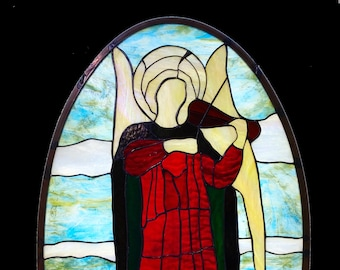 Angel after Fra Angelico - stained glass panel