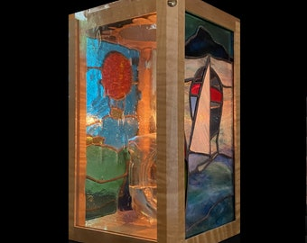 Stained Glass Oil Candle Lantern - curly maple frame, 3 scenic stained glass panels, triangular oil candle