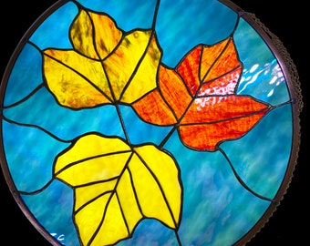 Autumn Leaves - stained glass panel