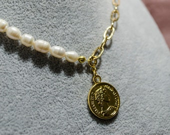 Bridesmaid Gift Coin Pearl Necklace 0050N Pearl choker Meaningful Wedding Gift