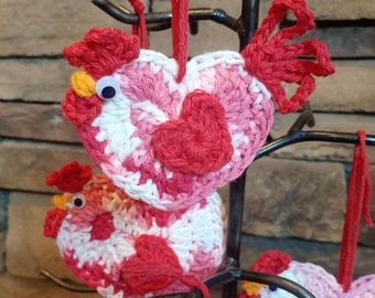 Chicken Ornament, Gifts for Chicken Lovers, Chicken Gift Tags, Rustic Heart Decor