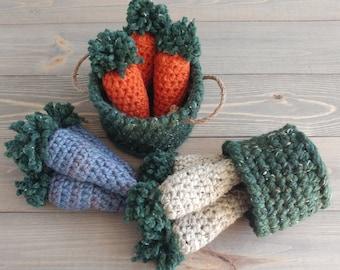Farm Style Carrots, Spring Farmhouse Decor, Crochet Farmhouse Carrots, Farmhouse Coffee Table Decor
