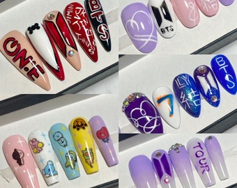 Bts Nails Etsy
