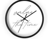 value the time - simple minimalist design - Wall clock - black white wood