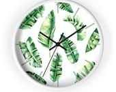 banana leaves - nature design - Wall clock