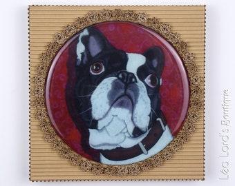 "Framed dog work with resin ""Royal Canin""."